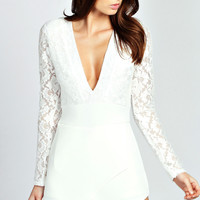 Long Lace Sleeves White Romper with Plunging V-Neckline