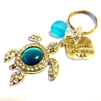 Rhinestone Sea Turtle Keychain, Dreaming Of The Sea Keychain, Blue Sea Glass Key Chain, Turtle Gift, Cute Car Accessories