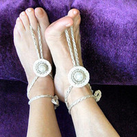 Beach Wedding Boho Jewelry Anklet Wedding accessories Hippy Chic Barefoot Sandals Nude shoes Yoga Bohemian Summer fashion Pearl