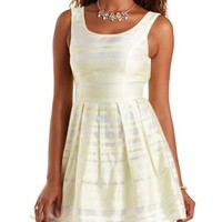 Yellow Combo Brocade- Striped Organza Skater Dress by Charlotte Russe