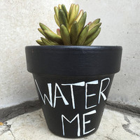 "Floral Pot Planter Hand-Painted ""Water Me"" Flower Pot And Home Decor"