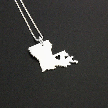 Louisiana State necklace Louisiana necklace sterling silver Louisiana state necklace pendant with heart comes with Box style chain