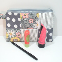 Gray and Pink Floral Polka Dot Cosmetic Bag, Zipper Pouch