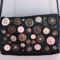 VINTAGE 80s STUD COINS black small bag purse - metal punk rock party retro long shoulder strap - vegan faux leather - new wave  boho chic