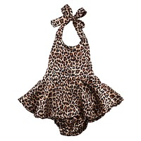 Infant Baby Girl Leopard Romper Jumpsuit Outfits