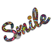 Smile Sticker - Colorful Design Bumper Sticker Laptop Decal Car Decal Laptop Stickers Hippie Boho Sticker Inspirational Wall Decal Flowers
