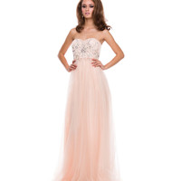(PRE-ORDER) 2014 Prom Dresses - Nude Tulle & Beaded Corset Strapless Gown