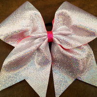 3 Cheer Bow  Hologram with Pink Ribbon by FullBidBows on Etsy