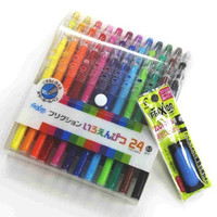 Pilot Frixion Erasable Color Pencils Like Gel Ink Pen 0.7mm 24 Colors /Value set Which Attached the Eraser Only for Friction
