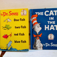 Cat in the Hat and One Fish, Two Fish, set of two Dr. Seuss hardcover children's books from the Beginner Book series, Random House