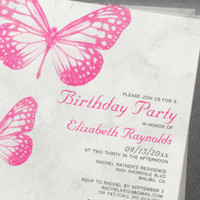 butterfly birthday party invitations invitationsnob on Etsy, a global handmade and vintage marketplace.