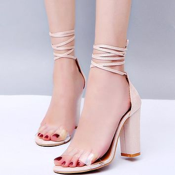 Fashion Selling Big-Size Explosive Transparent Bandage and High-heeled Sandals Beige