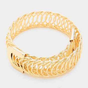 """.75"""" wide coil bangle cuff bracelet stack cage basketball wives"""