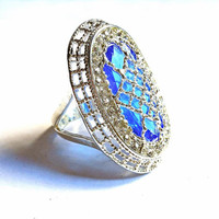 Sterling Silver 15kt Sapphire & White Topaz Statement Ring Silver Plated Blue Sapphire and White Topaz Statement Ring Silver Gemstone Ring