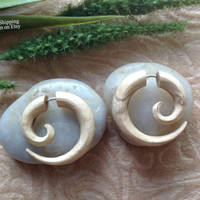 """Fake Gauge Earrings, """"Small Spiral"""" Naturally Organic, Tamarind Wood, Hand Carved, Tribal"""