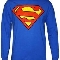 """SUPERMAN """"CLASSIC SHIELD"""" Long Sleeves Royal Blue Licensed Tee (Adult XL)"""
