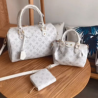 LV new classic old flower logo printing women's portable crossbody bag three-piece set