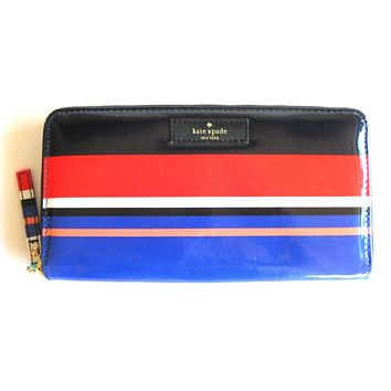 Kate Spade Neda Zip Around Wallet Tropical Stripe Black Red Daycation Cute/Cool/Unique Zipper Pouch/Bag/Clutch/Bag
