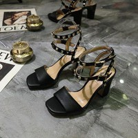 VALENTINO Women's Leather High-heeled Sandals-KUYOU