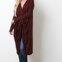 Marled Knit Twisted Long Dolman Sleeves Longline Cardigan
