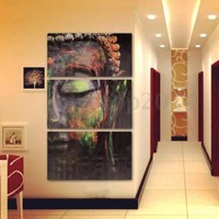 3 Pcs Buddha Oil Painting Wall Art