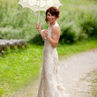 Dreamy Champagne Lace & Silk Wedding Dress with Swarovski hand beading