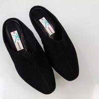 Ros Hommerson Mules Black Canvas Satin Slip On Shoes  Womens Size 9.5 WW
