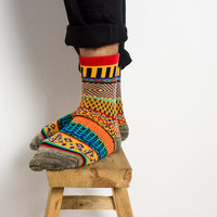 Eccentric Winter Tribal Cotton Socks for Men, Short Socks, Warm Socks, Winter Socks, Christmas Gift, Men Socks, Wool Socks,Vintage Socks