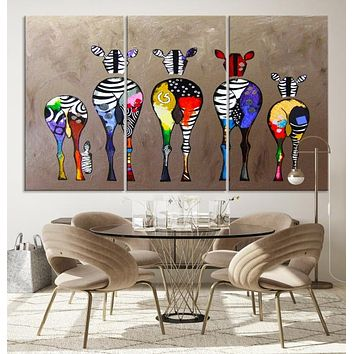 Large African Wall Art Zebra Animal Abstract Canvas Print