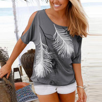 Summer Women Feather Printed T-shirts O- neck Strapless Shirts Off Shoulder Short Sleeve T-shirt Loose Casual shirts