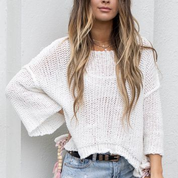 Still Spinning White Sweater With Beads