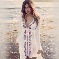 Vacation Dress Cotton Embroidery Blouse Bikini Sexy Beach Sea Jacket [11119387535]