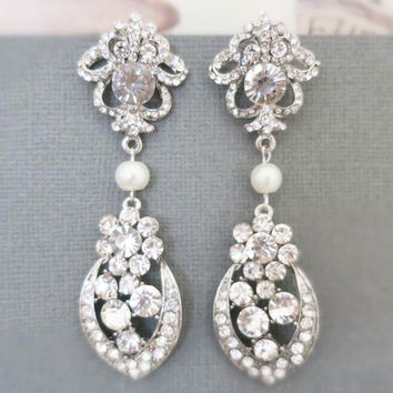 Long Wedding Earrings, Crystal Drop Bridal Jewelry Art Deco