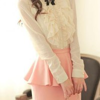 Quintessentially Audrey Ruffle Polka Dot Embossed Blouse in Snowy Cream | Sincerely Sweet Boutique