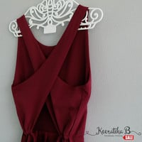 SALE - Backless Cross Back Maroon red dress romance girly dress Sexy spring summer dress Cross back simply pleated dress Small