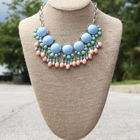Glam Fringe Necklace – Baby Blue