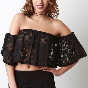 Off The Shoulder Burn Out Mesh Crop Top
