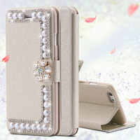 Luxury Pearl Silk Leather Case For iPhone 6 6s 7 Plus 5S SE Card Slot Girly Wallet Bag Flip Glitter Diamond Cover For iphon 6 S