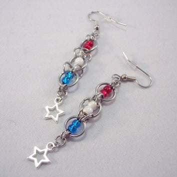 Chain Mail Earrings Red White and Blue Earrings Star Charm Earrings 4th of July Earrings American Earrings Flag Earrings
