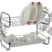 Deluxe 2 Tier Chrome Plated Dish Drying Rack
