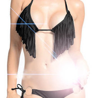 NWT Women Beach Bathing Suit Sexy Padded Swimwear Tassel Fringe Top and Bottom Bikini Swimsuit 4 Col