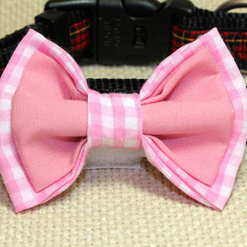 Medium Pink Gingham and Salmon Dog Bowtie. Light Pink Checked Bow Tie for Attaching to Dog Collar. Boutique Dog Accessories for Special Dog