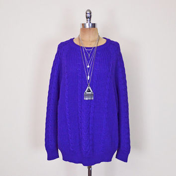 Vintage 80s 90s Purple Sweater Jumper Cable Knit Sweater Oversize Sweater Slouchy Sweater 90s Grunge Sweater Hipster Men Women S M L XL