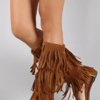 Women's Suede Triple Layered Fringe Knee High Boot Sandal