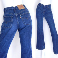 Sz 4 80s Boot Cut Levis 517 Women's Jeans - Vintage Faded Indigo Blue Denim Mid Rise Slim Fit Flared Made in USA Cowgirl Jeans