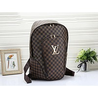 Louis Vuitton LV Fashion Woman Men Leather Travel Bookbag Shoulder Bag Backpack Coffee Tartan