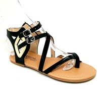 Women's Black Shiny Sandal with Buckle