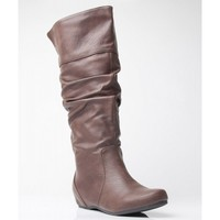 Soda Tail-H Vegan Leather Slouchy Round Toe Mid Calf Boot BROWN
