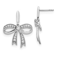 0.5 Ct. Natural Diamond 14k White Gold Bow Ribbon Post Earrings Fine Jewelry