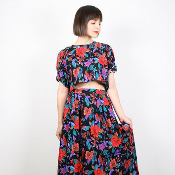 Vintage Matching Outfit Black Red Purple Floral Print Matching Set Two Piece Crop Top Midi Skirt Shirt High Waisted Tea Length Skirt L Large